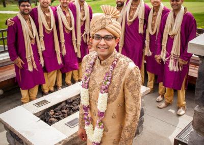 "Multicultural Wedding groom with ""best men"" in background."