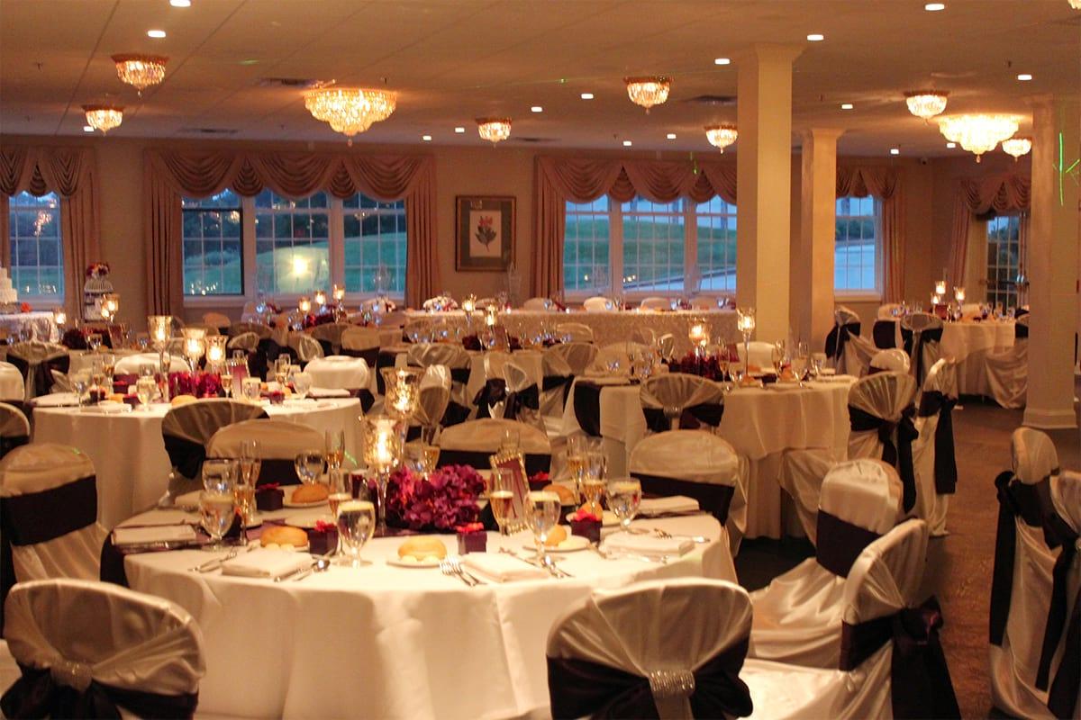 The Fairway Ballroom illuminated with dim romantic lighting