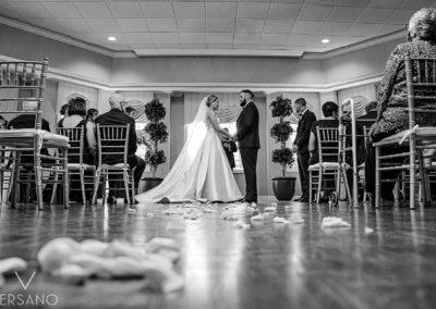 Mahoney Room Wedding Ceremony in Black and White