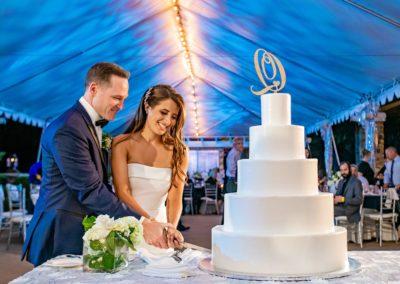 Rachel and Joe cutting their wedding cake.