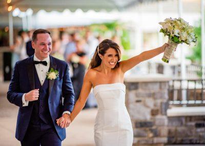 Rachel and Joe Getting well wishers after wedding.
