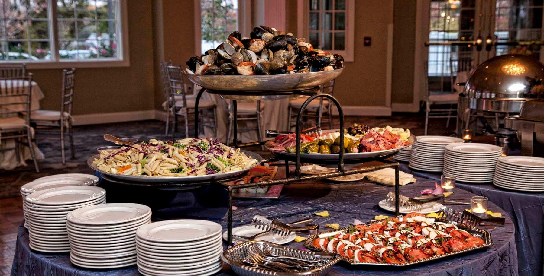 Buffet menu. Buffet table for birthday 80